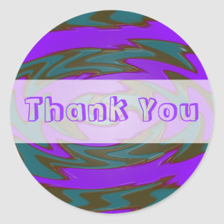 Thank you purple teal round sticker