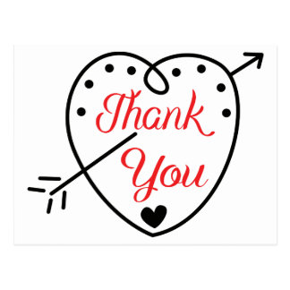 Thank You Red And Black Heart Love Wedding Postcard