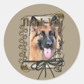 Thank You - Stone Paws - German Shepherd - Chance Round Sticker