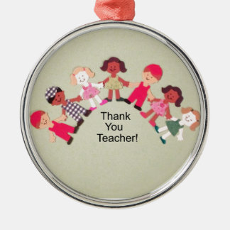 Thank You Teacher! Silver-Colored Round Decoration