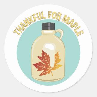 Thankful For Maple Round Sticker