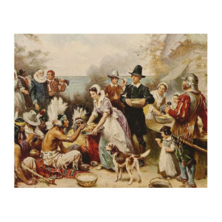 """Thanksgiving """"1621"""" Wood Art Wood Canvases"""