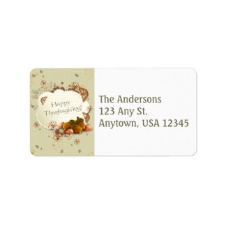 Thanksgiving Address Label with Acorns
