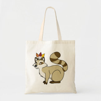 Thanksgiving Blonde Raccoon with Indian Headdress Budget Tote Bag
