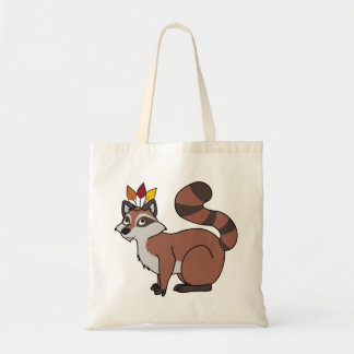 Thanksgiving Red Raccoon with Indian Headdress Budget Tote Bag