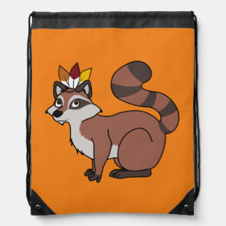 Thanksgiving Red Raccoon with Indian Headdress Drawstring Backpack
