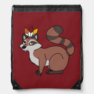 Thanksgiving Red Raccoon with Indian Headdress Drawstring Backpacks