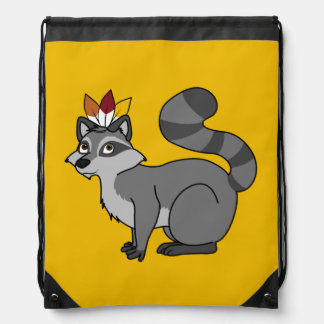 Thanksgiving Silver Raccoon with Indian Headdress Drawstring Backpack