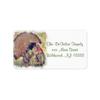 Thanksgiving Turkey Watercolor Mixed Media Address Label