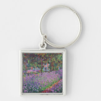 The Artist's Garden at Giverny, 1900 Silver-Colored Square Key Ring