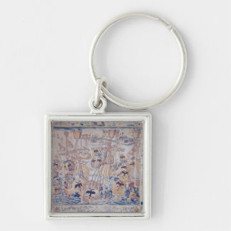 The Battle of Tunis or Lepanto Silver-Colored Square Key Ring