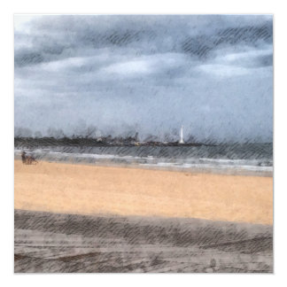 The beach 13 cm x 13 cm square invitation card