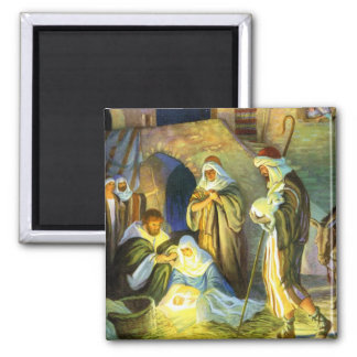 The birth of Jesus Christmas Magnet