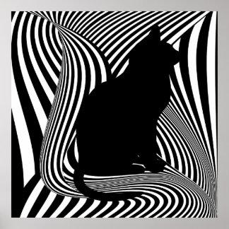 The Black Cat - Optical Art Studio Poster