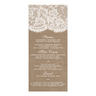 The Burlap & Lace Collection Menu Templates Custom Rack Card