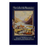 """""""The Call of the Mountains"""" Vintage Travel Poster"""