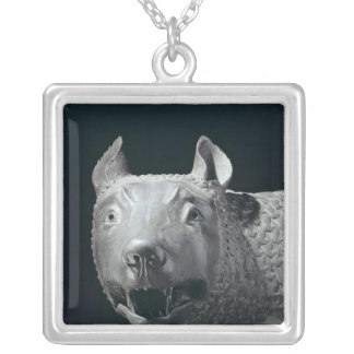 The Capitoline She-Wolf Square Pendant Necklace