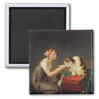 The Cat's Lunch Square Magnet