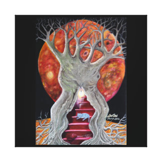 The Changing Goddess under the Wiccan Moon Stretched Canvas Print