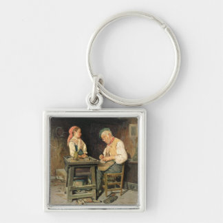 The Cobbler's Shop, 1874 (oil on panel) Silver-Colored Square Key Ring