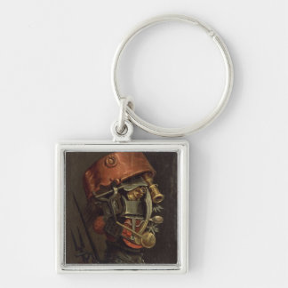 The Cook (oil on panel) Silver-Colored Square Key Ring