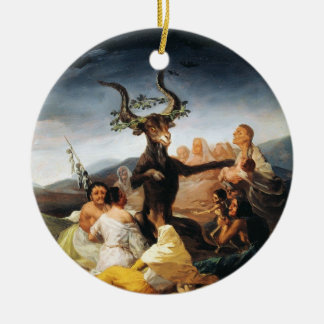 The Coven Francisco José de Goya masterpiece paint Round Ceramic Decoration