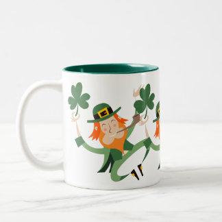 The Dancing Leprechaun Two-Tone Mug