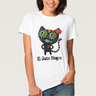 The Day of The Dead Black Cat T Shirts