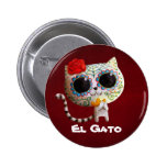 The Day of The Dead Cute Cat 6 Cm Round Badge