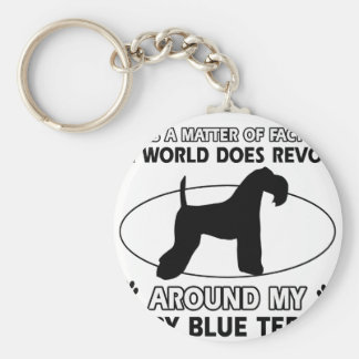 The dog revolves around my KERRY BLUE TERRIER Basic Round Button Key Ring