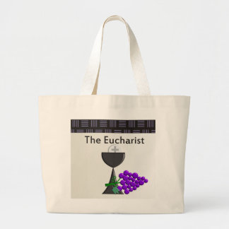 The Eucharist Chalice and Grapes Design Jumbo Tote Bag