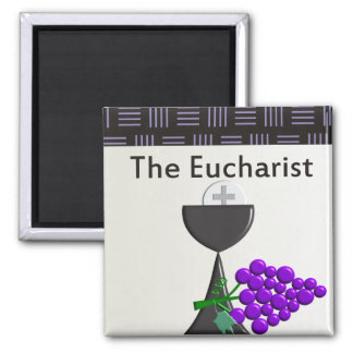 The Eucharist Chalice and Grapes Design Square Magnet