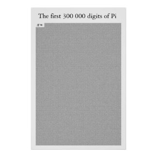 The first 300 000 digits of Pi Poster