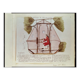 The Flying Machine of Jean Pierre Blanchard Poster