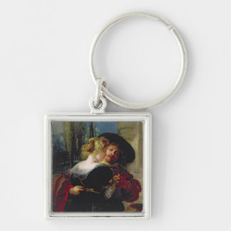 The Garden of Love, c.1630-32 Silver-Colored Square Key Ring