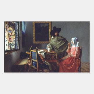 The Glass of Wine by Johannes Vermeer Rectangular Sticker