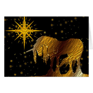 The Golden Unicorn Star (black background) Greeting Card