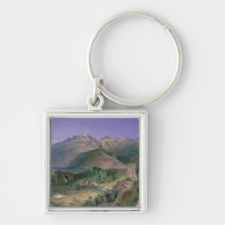 The Great Wall of China, 1886 (w/c) Silver-Colored Square Key Ring