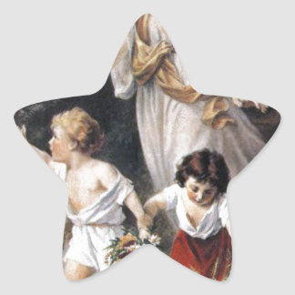 The Guardian Angel and Children, Vintage Painting. Star Sticker
