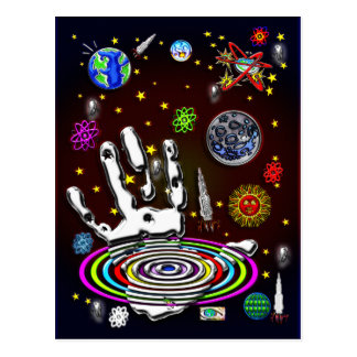 The Hand of Humanity in Space Postcard