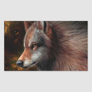 The head of a wolf painting. rectangular sticker