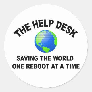 The Help Desk - Saving The World Round Sticker