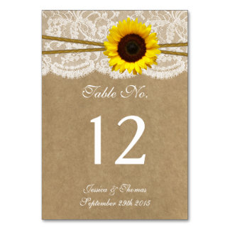 The Kraft, Lace & Sunflower Wedding Collection Table Cards