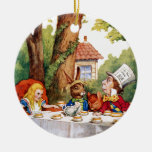 The Mad Hatter's Tea Party in Wonderland Round Ceramic Decoration