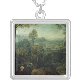 The Magpie on the Gallows, 1568 Square Pendant Necklace