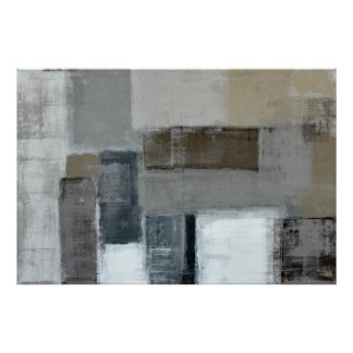 'The Maze' Neutral Abstract Art Poster Print