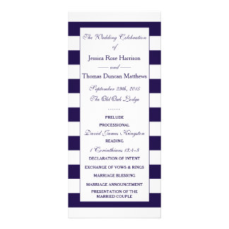 The Modern Navy Stripe Wedding Collection Personalized Rack Card
