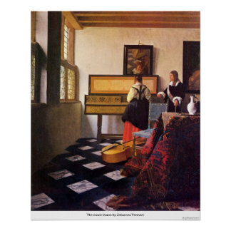 The music lesson by Johannes Vermeer Poster
