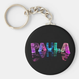 The Name Paula in 3D Lights (Photograph) Basic Round Button Key Ring