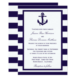 The Nautical Anchor Navy Stripe Wedding Collection 13 Cm X 18 Cm Invitation Card